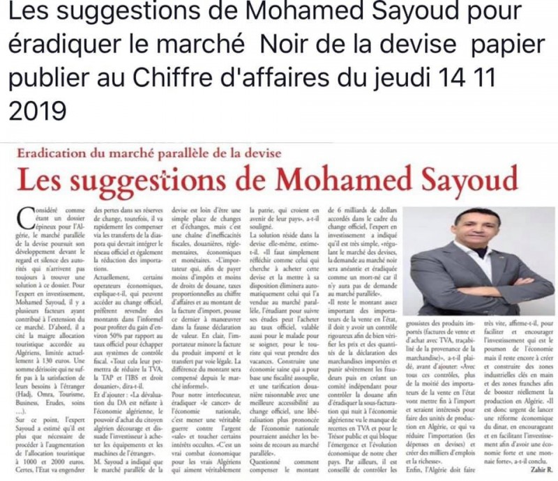 l'intervention de Mr Sayoud sur le journal : Le Chiffre d'Affaires