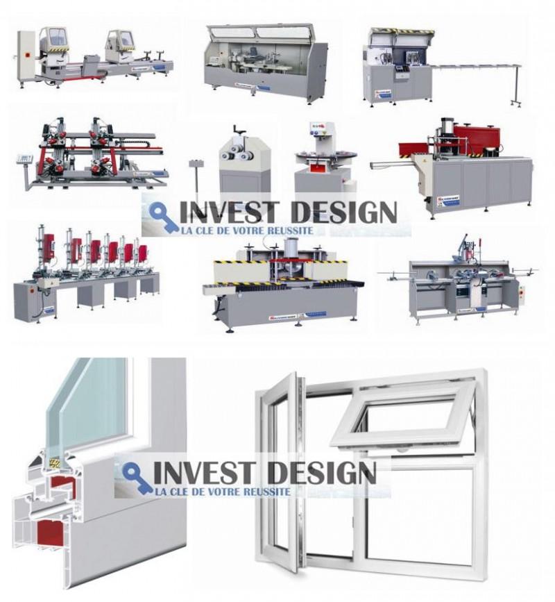 Machines pour fabrication des profiles en PVC et en Aluminium pour fenetres et portes.