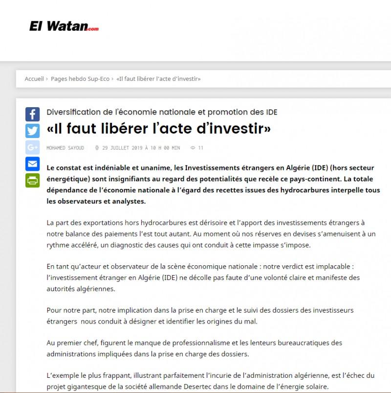 Article de presse sur le journal El Watan